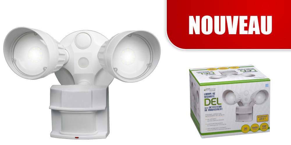 Lampe de sécurité DEL avec détecteur de mouvement non-métallique