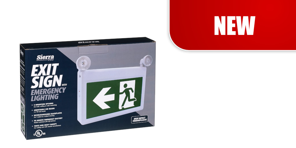 Combination EXIT SIGN with EMERGENCY LIGHTING